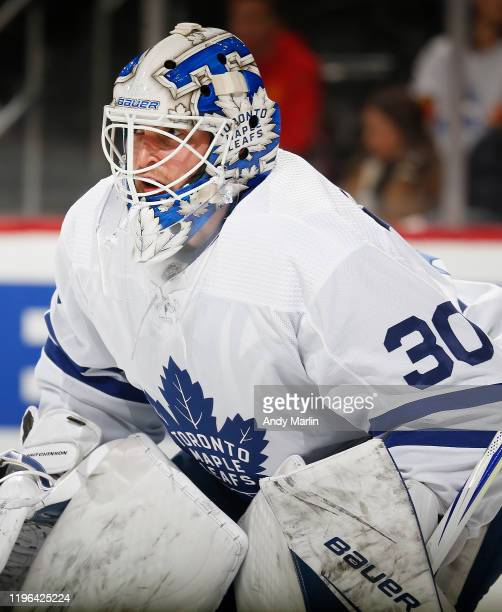 Michael Hutchinson of the Toronto Maple Leafs defends his net against the New Jersey Devils during the game at the Prudential Center on December 27,...