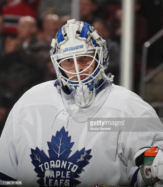 Michael Hutchinson of the Toronto Maple Leafs reacts following a goal by Jesper Bratt at 10:11 of the second period at the Prudential Center on...
