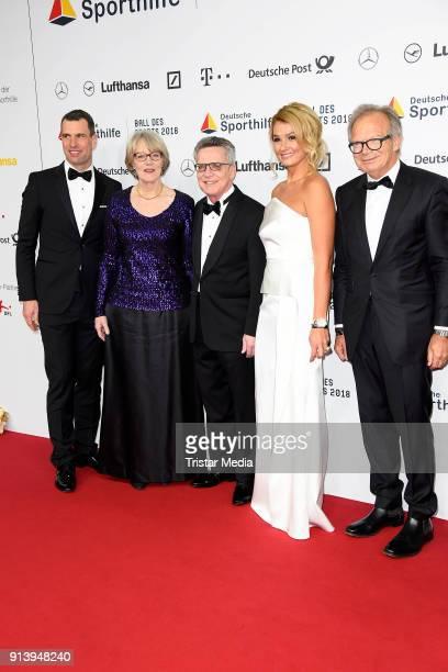 Michael Ilgner, Thomas de Maiziere, his wife Martina de Maiziere, Franziska van Almsick and Werner E. Klatten attend the German Sports Gala 'Ball Des...