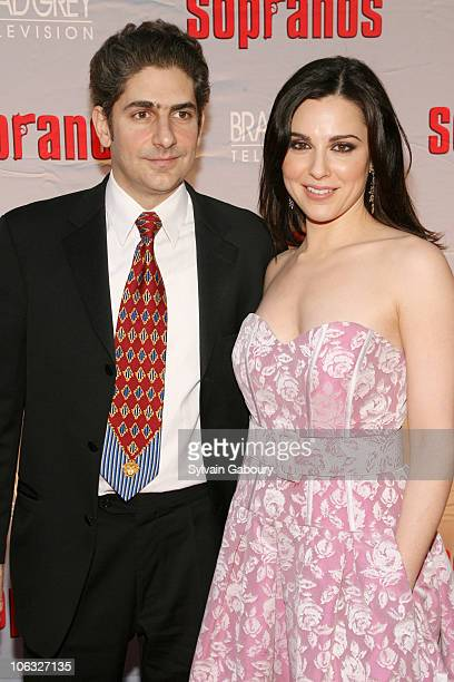 Michael Imperioli and Cara Buono during The Sopranos Final Season World Premiere Arrivals at Radio City Music Hall in New York City New York United...