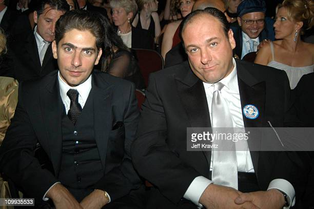 Michael Imperioli and James Gandolfini during 55th Annual Primetime Emmy Awards Backstage and Audience at The Shrine Auditorium in Los Angeles...