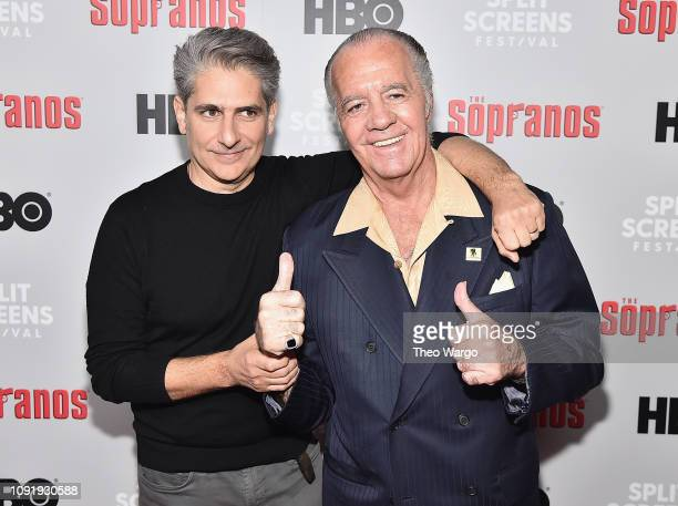 Michael Imperioli and Tony Sirico attend the The Sopranos 20th Anniversary Panel Discussion at SVA Theater on January 09 2019 in New York City