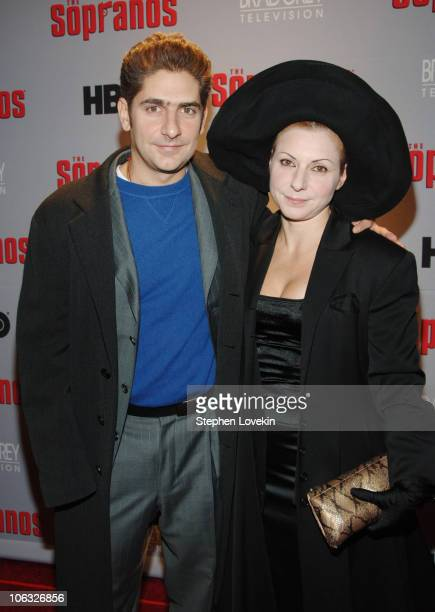 Michael Imperioli and wife Victoria Imperioli during The Sopranos Sixth Season Premiere Inside Arrivals at MoMA in New York City New York United...