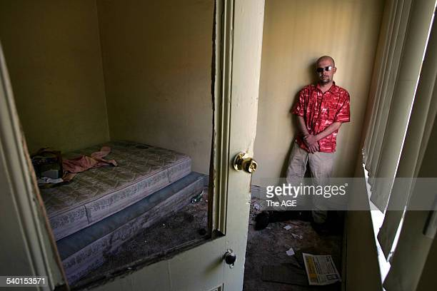 Michael inside a run down East Brunswick home where residents pay $160 per week for a room on 18 October 2006 THE AGE NEWS Picture by WAYNE TAYLOR