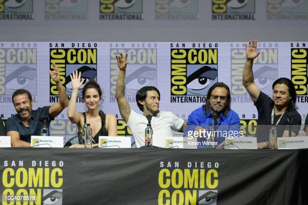 Michael Irby Carla Baratta Richard Cabral Raoul Trujillo and Antonia Jaramillo speak onstage at the 'Mayans MC' discussion and QA during ComicCon...