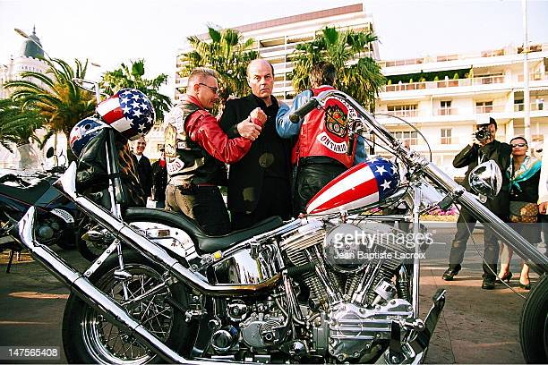 Michael Ironside the biker gang of the movie during MIPTV 2002 The Last Chapter Michael Ironside Photocall at On The Croisette in Cannes France