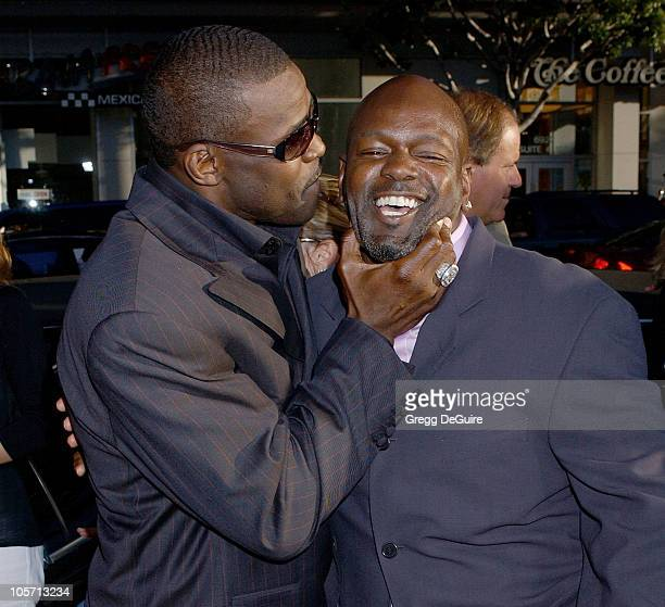 Michael Irvin and Emmitt Smith during 'The Longest Yard' Los Angeles Premiere Arrivals at Grauman's Chinese Theatre in Hollywood California United...