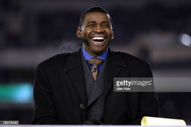 Michael Irvin on ESPN Monday Night Football during the game between the Carolina Panthers vs Philadelphia Eagles on December 4 2006 at Lincoln...