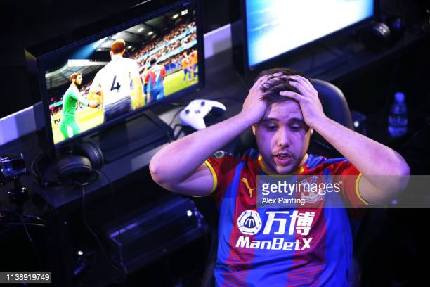 Michael 'ItsMeAuzio' Faria of Crystal Palace reacts during day one of the 2019 ePremier League Finals at Gfinity Arena on March 28 2019 in London...