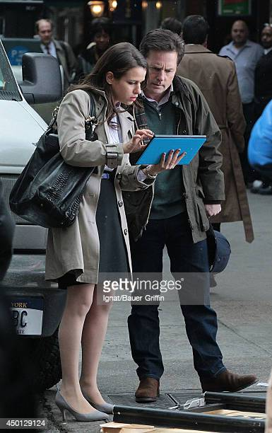 Michael J Fox and Ana Nogueira are seen on the film set of 'The Michael J Fox Show' on February 05 2013 in New York City