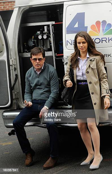 Michael J Fox and Ana Nogueira On Location For 'Michael J Fox Project' on January 30 2013 in New York City
