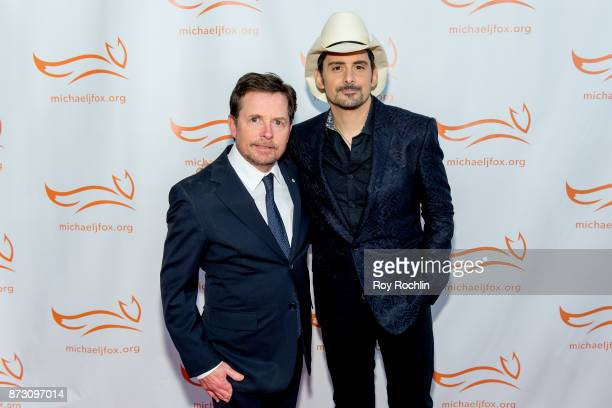 Michael J Fox and Brad Paisley attend the 2017 a funny thing happened on the way to cure Parkinson's benefitting The Michael J Fox Foundation at the...