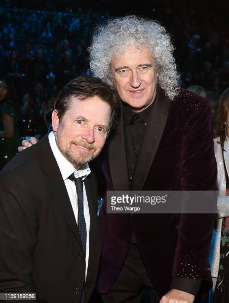 Michael J Fox and Brian May attend the 2019 Rock Roll Hall Of Fame Induction Ceremony at Barclays Center on March 29 2019 in New York City