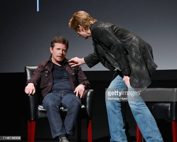 Michael J Fox and Denis Leary speak at the Tribeca Talks Storytellers 2019 Tribeca Film Festival at BMCC Tribeca PAC on April 30 2019 in New York City
