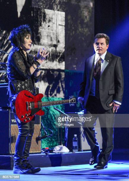 Michael J Fox and Joan Jett perform at the Governor General's Awards 25th Anniversary Gala at National Arts Centre on June 29 2017 in Ottawa Canada