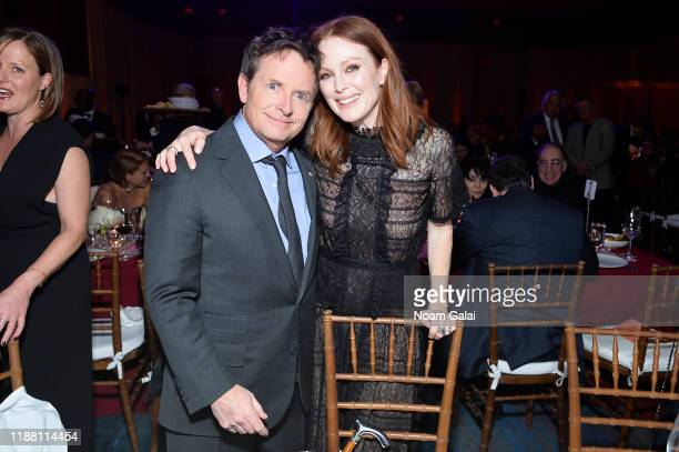 Michael J Fox and Julianne Moore speaks on stage at A Funny Thing Happened On The Way To Cure Parkinson's benefitting The Michael J Fox Foundation on...