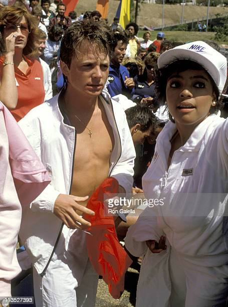 Michael J Fox and Kim Fields during Michael J Fox at a Taping of 'Battle of the Network Stars' at Pepperdine University in Malibu California United...