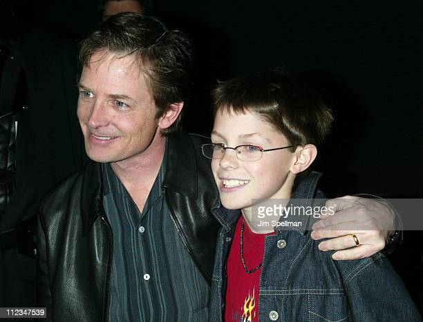Michael J Fox and son Sam during Star Wars Episode II Attack of the Clones Charity Premiere New York at Tribeca Performing Arts Center in New York...