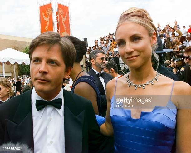 Michael J Fox and Tracy Pollan arrive at the Emmy Awards Show at Shrine Auditorium, March 23, 1997 in Los Angeles, California.