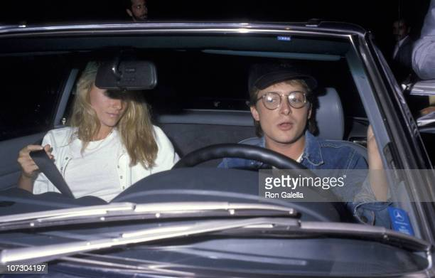 Michael J Fox and Tracy Pollan during Michael J Fox and Tracy Pollan Sighting at Spago's Restaurant in Hollywood October 16 1987 at Spago's...