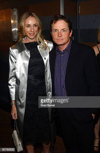 Michael J Fox and wife Tracy Pollan arrives at The Atlantic Theater Company's 2005 Spring Gala at the Rainbow Room on May 2 2005 in New York City