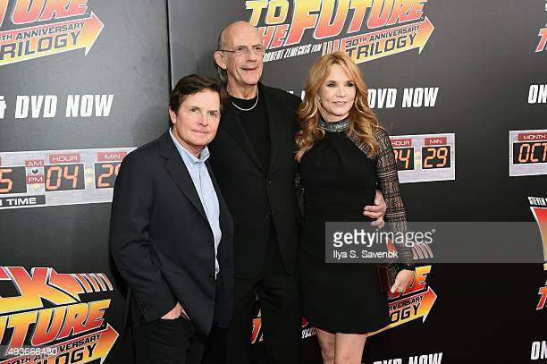 Michael J Fox Christopher Lloyd and Lea Thompson attend the Back to the Future reunion with fans in celebration of the Back to the Future 30th...