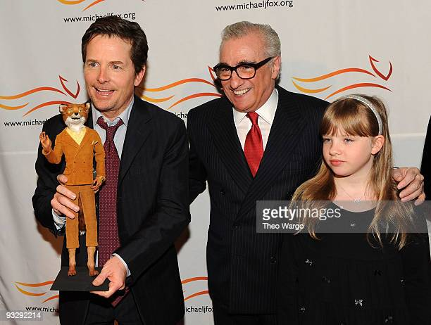 Michael J Fox director Martin Scorsese and Francesca Scorsese attend the A Funny Thing Happened on the Way to Cure Parkinson's benefit at The Waldorf...