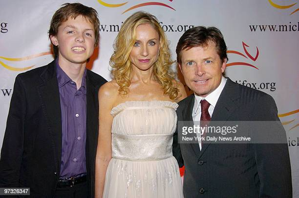 Michael J Fox is joined by his wife Tracy Pollan and son Sam for A Funny Thing Happened on the Way to Cure Parkinson's at the WaldorfAstoria The...