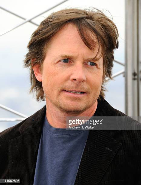 Michael J Fox lights the Empire State Building orange and white to raise awareness for The Michael J Fox Foundation for Parkinson's Research at The...