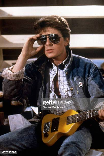 Michael J Fox on the set of Back to the Future