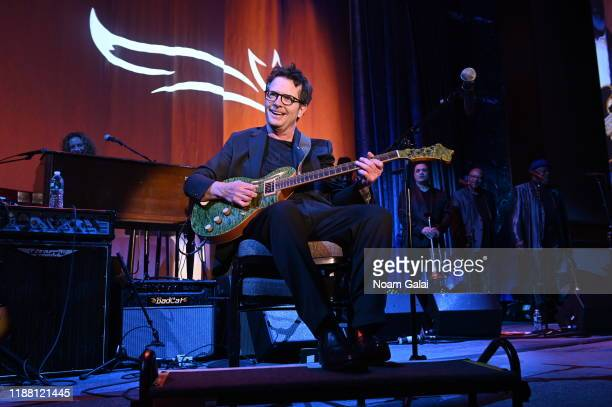 Michael J Fox performs on stage at A Funny Thing Happened On The Way To Cure Parkinson's benefitting The Michael J Fox Foundation on November 16 2019...