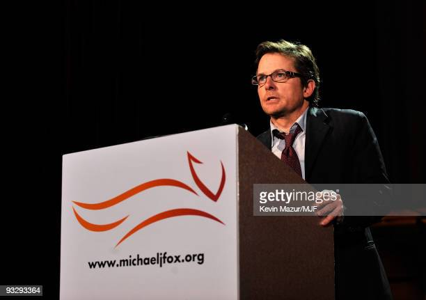 "Michael J. Fox speaks onstage during The Michael J. Fox Foundation�s 2009 Benefit, ""A Funny Thing Happened on the Way to Cure Parkinson's"" at The..."