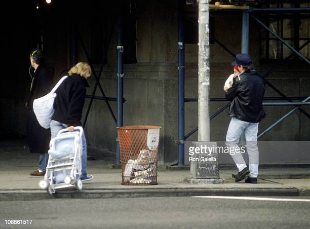 Michael J Fox Tracy Pollan and Son Sam Fox during Michael J Fox and Tracy Pollan Sighting on the Streets of New York City February 18 1990 at Between...