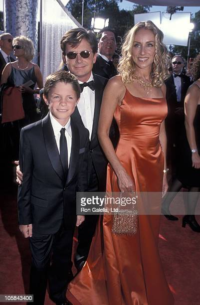 Michael J Fox Tracy Pollan and their son Sam during The 51st Annual Emmy Awards Arrivals at Shrine Auditorium in Los Angeles California United States