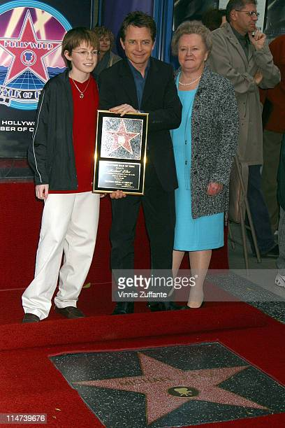 Michael J Fox with son Sam and mother Phyllis receiving his star on the Hollywood Walk of Fame in Hollywood CA 12/16/02