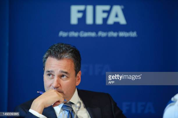 Michael J Garcia Chairman of the investigatory chamber of the FIFA Ethics Committee gestures during a press conference at the FIFA's headquarter on...
