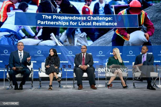 Michael J Nyenhuis Ann Young Lee Alex Amparo Hon Pam Bondi and Michael Sneed speak onstage during the 2018 Concordia Annual Summit Day 2 at Grand...