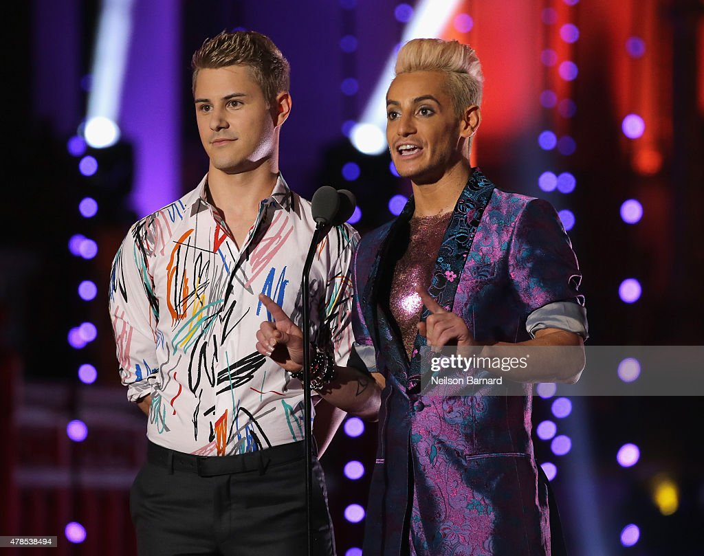 Michael J. Willett and Frankie Grande speak onstage at Logo's 'Trailblazer Honors' 2015 at the Cathedral of St. John the Divine on June 25, 2015 in New York City.