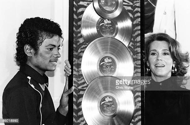 Michael Jackson 1983 presented with the first Triple Platimum awards for the multiplatinum 'Thriller' album by Jane Fonda