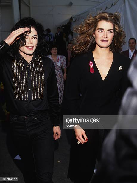 Michael Jackson and Brooke Shields attend the 35th Annual GRAMMY Awards at the Shrine Auditorium on February 24 1993 in Los Angeles California