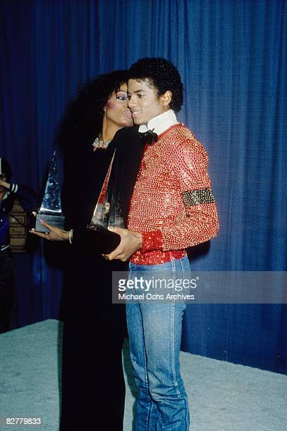 Michael Jackson and Diana Ross backstage with their American Music Awards Michael won for Favorite Male Vocalist Soul and RB and Favorite Album Soul...