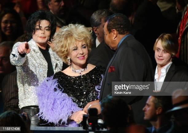 Michael Jackson and Elizabeth Taylor greet Joe Jackson as Macaulay Culkin enjoys the moment as the pair arrive for taping of Michael Jackson's 30th...