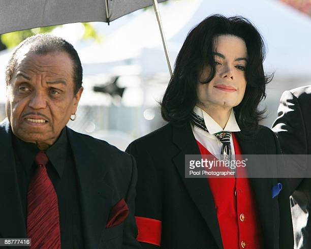 Michael Jackson and father Joe Jackson arrive at the Santa Barbara County courthouse April 29 in Santa Maria California for another day in Michael...