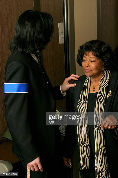 Michael Jackson and his mother Katherine exit the the Santa Barbara County courthouse 12 April 2005 in Santa Maria California The mother of Michael...