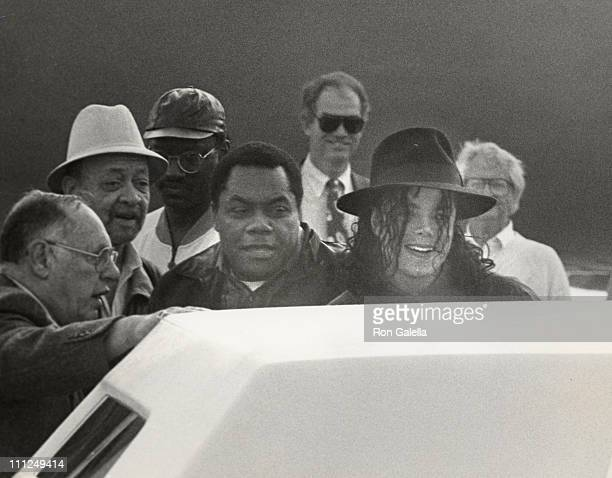 Michael Jackson and his PR Lee Solters during Departing to Africa from LAX at Los Angeles International Airport in Los Angeles California United...