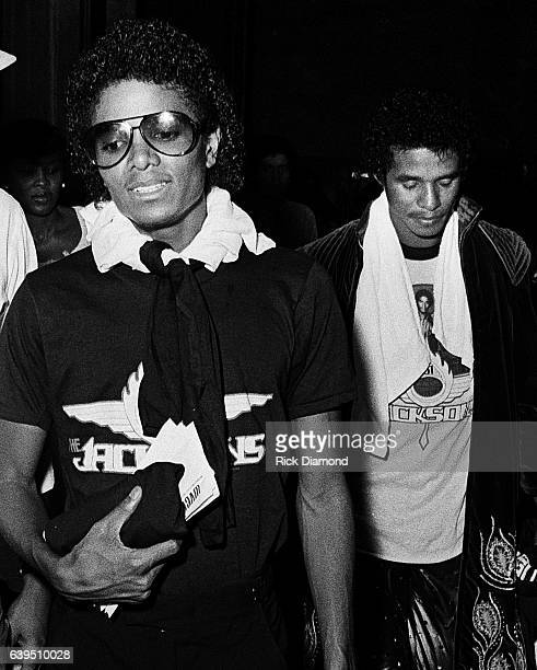 Michael Jackson and Jackie Jackson backstage during The Jacksons Triumph Tour at The Omni Coliseum in Atlanta Georgia July 22 1981