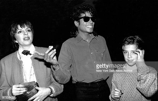 Michael Jackson and Liza Minelli backstage after seeing the Phantom of the Opera with his new friend Jimmy Safechuck