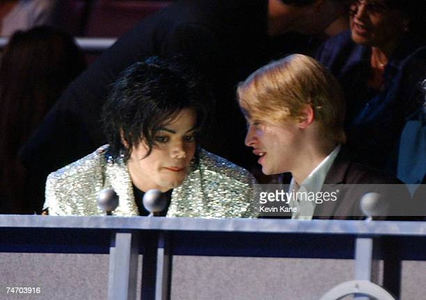 Michael Jackson and Macaulay Culkin at the Madison Square Garden in New York City, New York