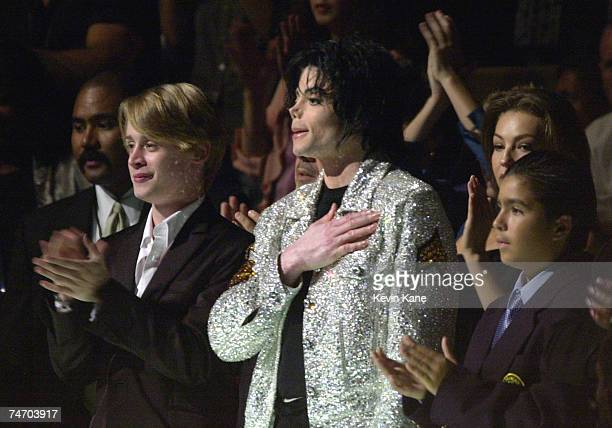 Michael Jackson and Macaulay Culkin at the Madison Square Garden in New York City New York