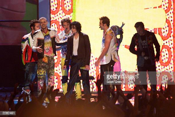Michael Jackson and NSYNC onstage performing at the 2001 MTV Video Music Awards held at the Metropolitan Opera House at Lincoln Center in New York...